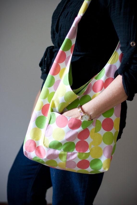 Reversible Bright Circles  Lime Green  Bag