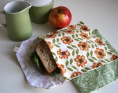 pair of reusable, lined sandwich bags in vintage daisy & geometric