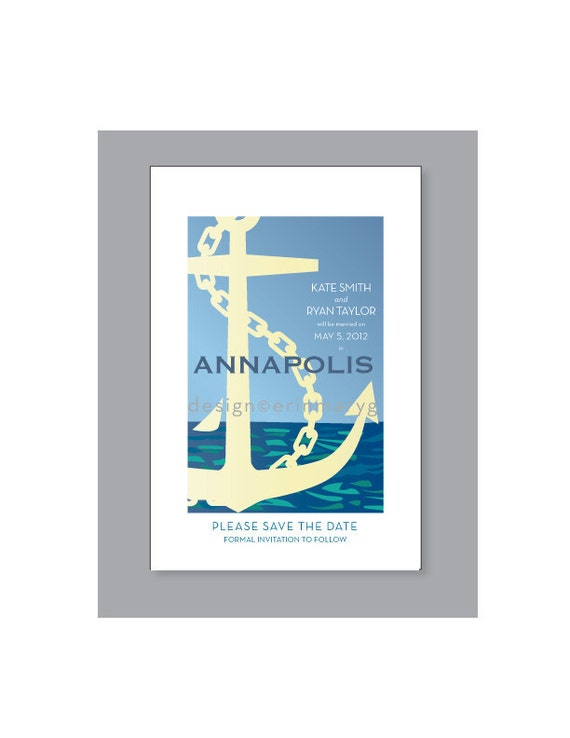 Annapolis, Maryland custom Save the Date-Printable- retro travel poster design