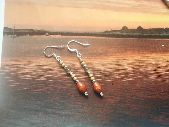 Silver-Brown Cat's Eye Glass-Wood- Dangle Earrings