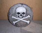 Concrete Skull and Crossbones plaque Pirate Warning Cement sign