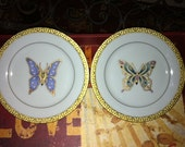 Set of 2 GORGEOUS Vintage Royal Gallery Gold Buffet Butterfly Plates