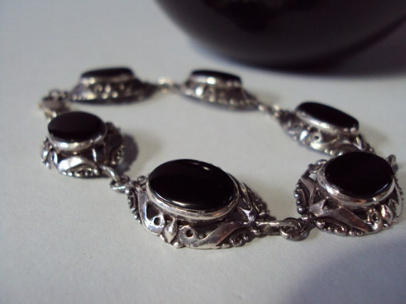 Sterling Silver Black Onyx Bracelet Signed