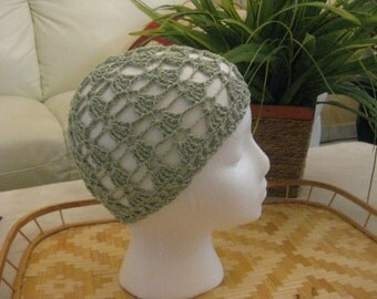 Green Crocheted Lace Hat