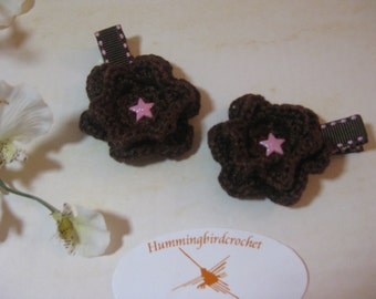 Brown Crocheted Flower Hair Clip