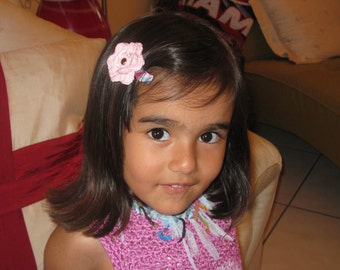 Pink Crocheted Hair Clip