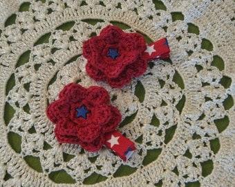 Crochet Patriotic Hair Clip - 4th of July