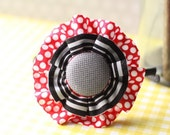 Large Flower Head Band - red and black