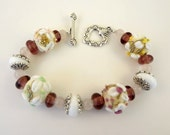 Lampwork Bead Bracelet - ' Country Wedding'