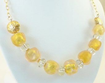 Lampwork Bead Necklace - ' Georgia'