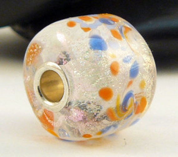 "European Style Big Hole Bead Lampwork Focal Sterling Core - ""Sparklers"""