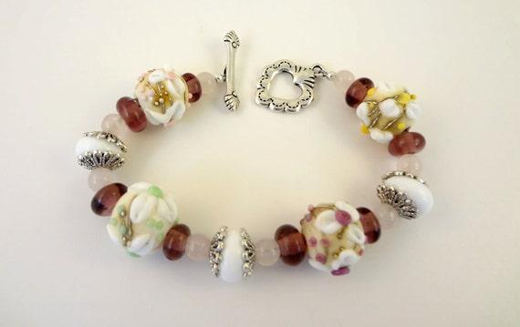 Lampwork Bead Bracelet - ' Country Wedding'