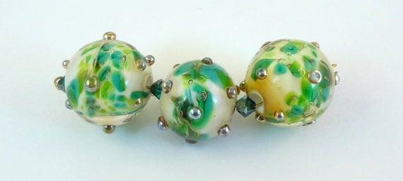 Lampwork Bead Set  - 'Greens of Summer'