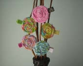 Pink, Yellow, Blue & Green Twisted Fabric Rose Hair Clips in Spring and Summer Colors - Lollipops Collection
