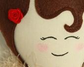 DIY DOLL KIT - Miss Holly - brown hair rag doll, red velvet dress, brown glitter shoes, rose accent