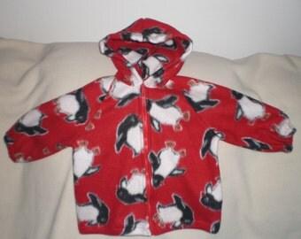 Size 18 Month Red Penguin Print Hooded Fleece Jacket
