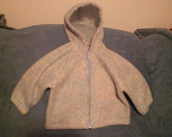 Size 12 Months Blue, Cream and Pink Polar Fleece Hooded Jacket