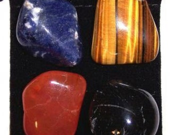 ENERGETIC GROUNDING Tumbled Crystal Healing Set - 4 Gemstones w/Description & Pouch - Carnelian, Onyx, Sodalite, and Tiger's Eye