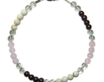 MANIFEST LOVE 4mm Crystal Intention Bracelet w/Sterling Silver Clasp w/Description - Garnet, Magnesite, Rose Quartz, Clear Quartz