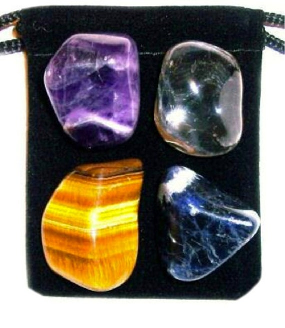 SELF DISCOVERY Tumbled Crystal Healing Set- 4 Gemstones w/Description & Pouch - Chevron Amethyst, Clear Quartz, Sodalite, and Tigers Eye
