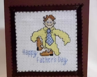 Hand Cross Stitched Father's Day Card