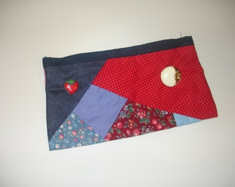 Cosmetic pouch in red and blue - makeup bag - pencil case - strawberry button - free shipping etsy