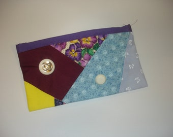 Cosmetic bag in blue, purple, yellow, flowers - makeup bag - pencil case - free shipping etsy