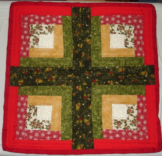 Table Topper - Hand Quilted - Christmas Table Topper - Red and Green - Free Shipping Etsy
