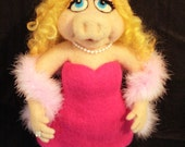 Ready to Ship: Miss Piggy Needle Felted Art Doll SALE