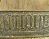 Cast Iron Antique Sign With Arrow Pointing right