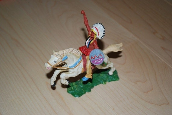 Vintage Elastolin Horse and Indian Plastic Figure