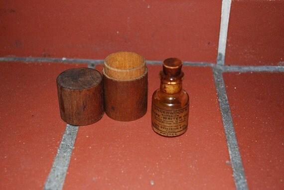 Vintage Underwood Typewriter Oil Bottle & Wood Case