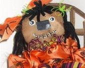Primititve Zombie Handmade  Raggedy Cloth Doll