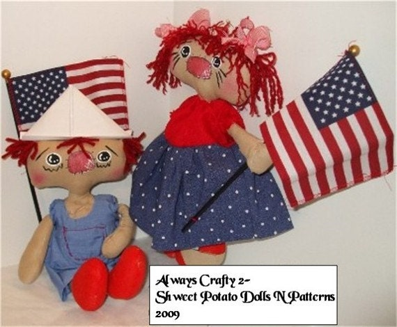 Americana Raggedy Annie Andy Cloth Doll Set