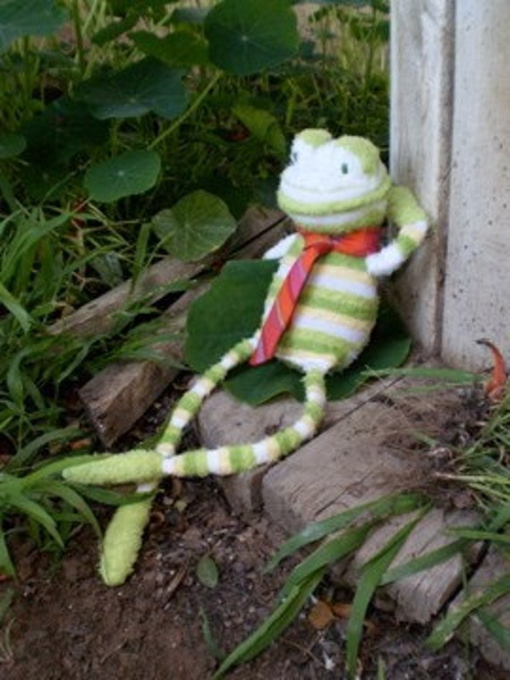 Relaxing frog, sock doll, soft sculpture
