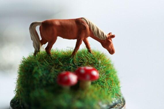 Terrarium Necklace, Diorama Pendant Miniature Horse Necklace