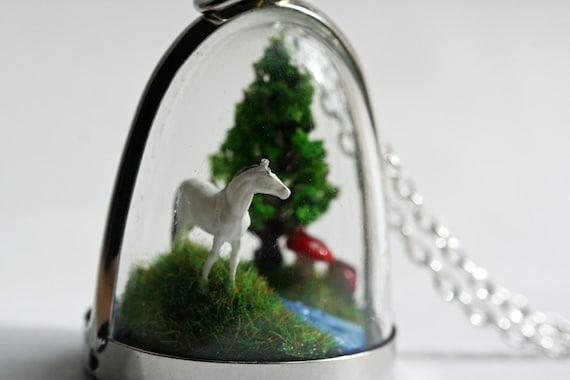 Terrarium Necklace, Diorama Pendant Miniature Horse and Mushrooms