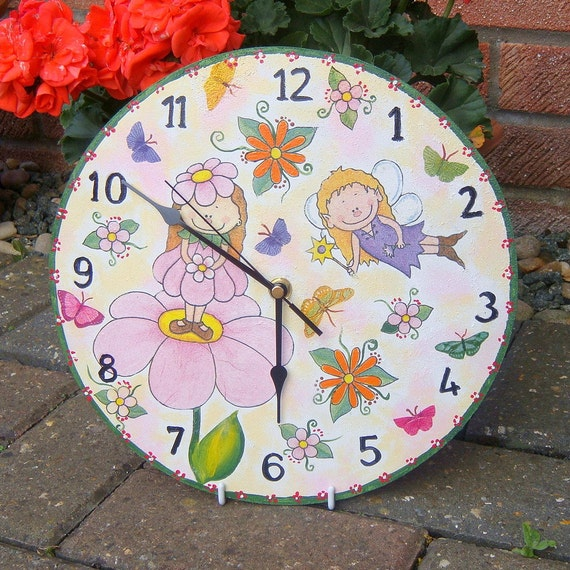 Children wall clock with fairies