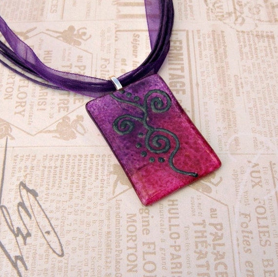 Glass Pendant, Glass Necklace in Purple and Pink, Hand Painted, Purple Organza Ribbon Silk & Cotton Necklace Cord, Silver Plated Bail