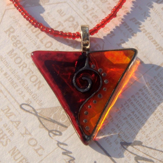 Glass Pendant, Glass Necklace in Red and Orange, Hand Painted, Necklace with Glass and Acrylic beads, Silver Plated Bail