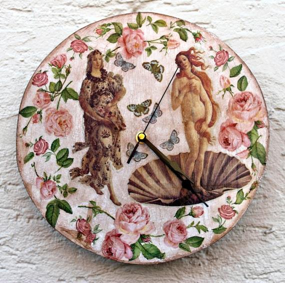 Wooden wall clock, Renaissance clock, Shabby chic wall clock, Distressed wall clock, Romantic wooden wall clock, Home decor, Wall decor