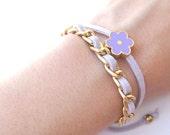 Lavender Pastel Double Wrap Friendship Bracelet - Fashion Bracelet - Gold Chain Light Purple Daisy