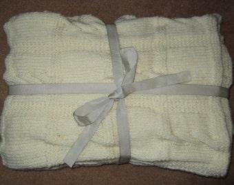 Hand Knitted Cream Blanket