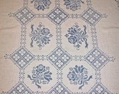 Antique Vintage Linen blue crosstitch table cloth throw