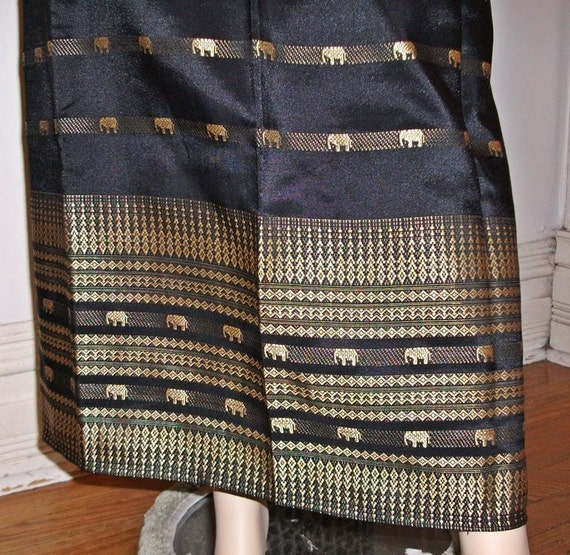 Vintage THAI wrap maxi skirt NWOT black gold SILK elephants embroidery hippie boho