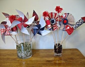 4th Of July Party Package Pinwheels Paper Fans Fireworks Patriotic Set Of 12 Made To Order