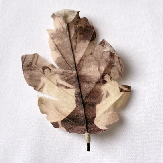 Fabric leaf brooch printed with photograph 'Dancers'