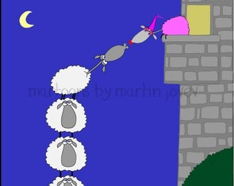 Romeo and Juliet with funny sheeps ANNIVERSARY GIFT For Mom and Dad print with option to Customize the names
