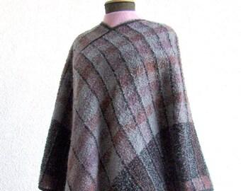 Handwoven Poncho - Oatmeal, Brown, Beige Checkered, OOAK