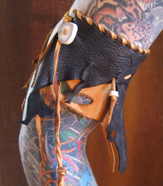 Poison Whiskey - Black and Dusk Leather and Deerskin Warrior ArmBand Cuff